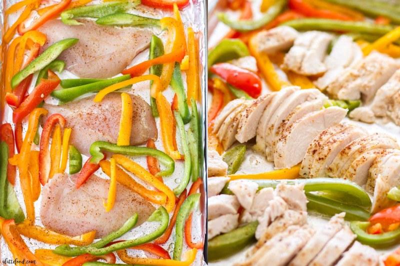Easy Sheet Pan Chicken Fajitas -- uncooked chicken fajitas steps