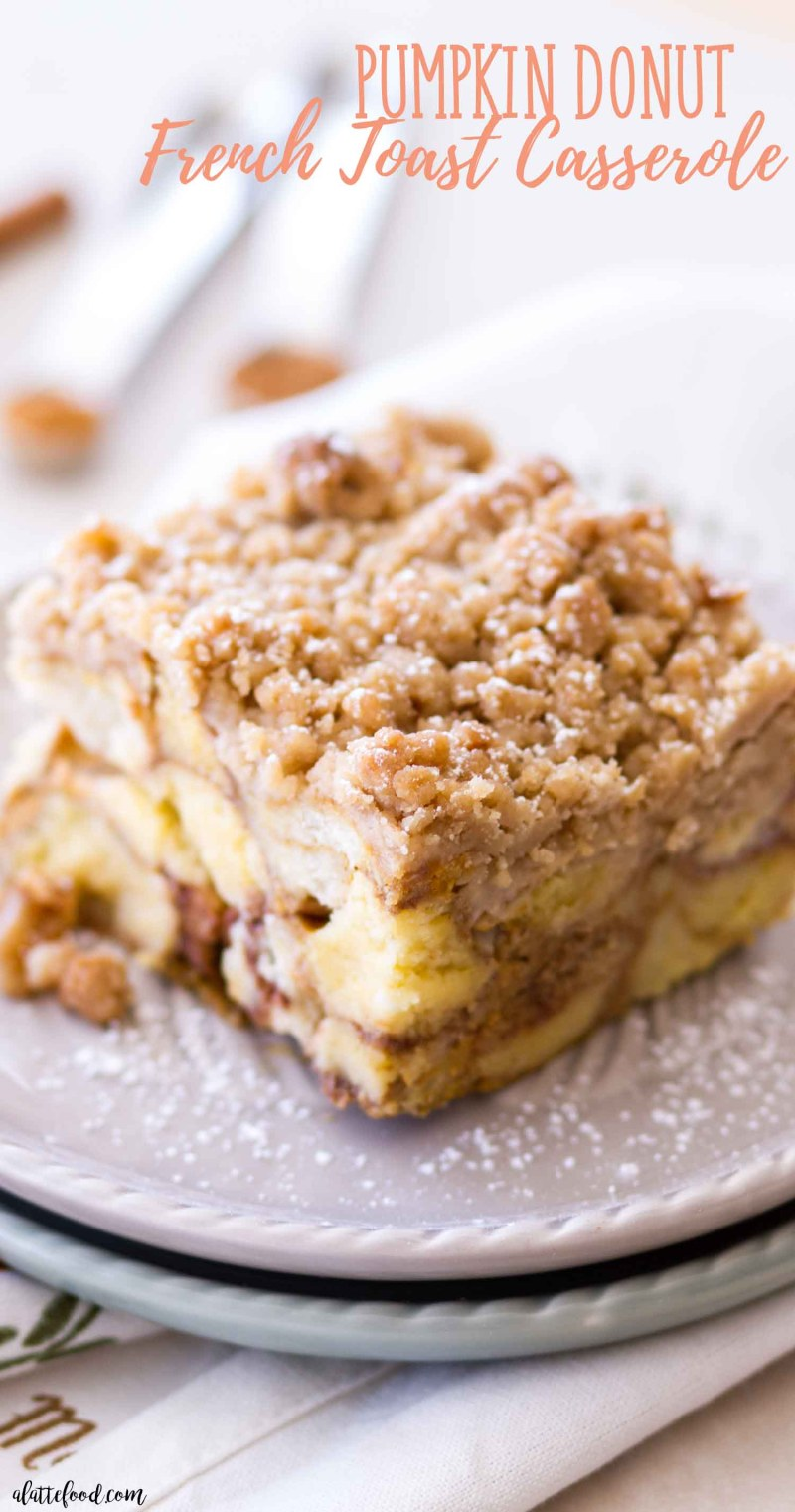 Easy pumpkin donut french toast casserole slice on a grey plate