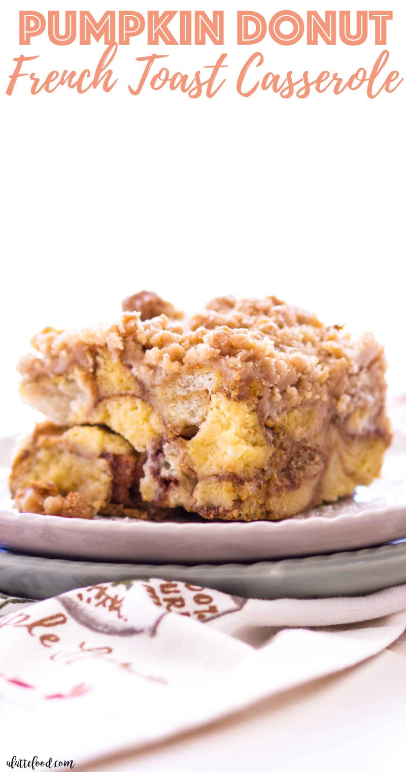 Donut French Toast Casserole with brown sugar streusel on a plate