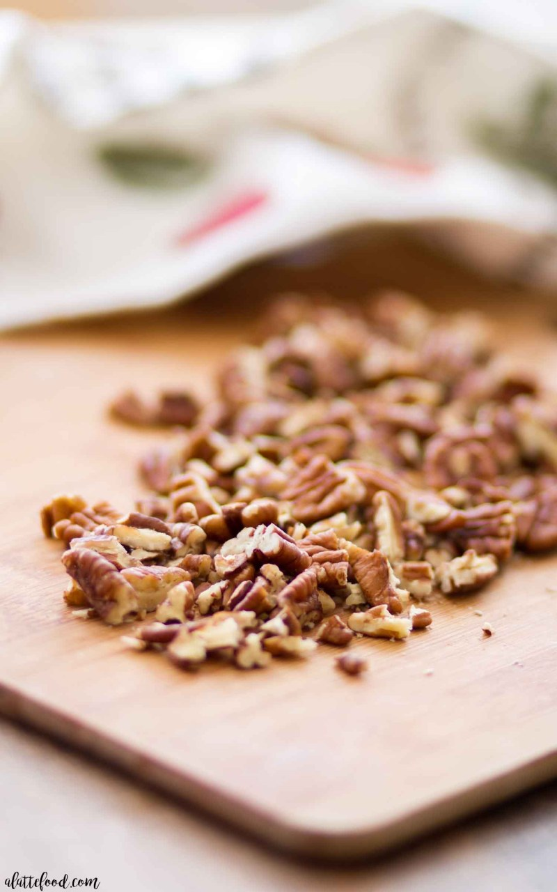 Homemade Pecan Praline Sauce made with brown sugar and chopped pecans
