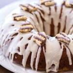 Fudge Stripe Coffee Cake Bundt Cake Recipe with a Vanilla Glaze