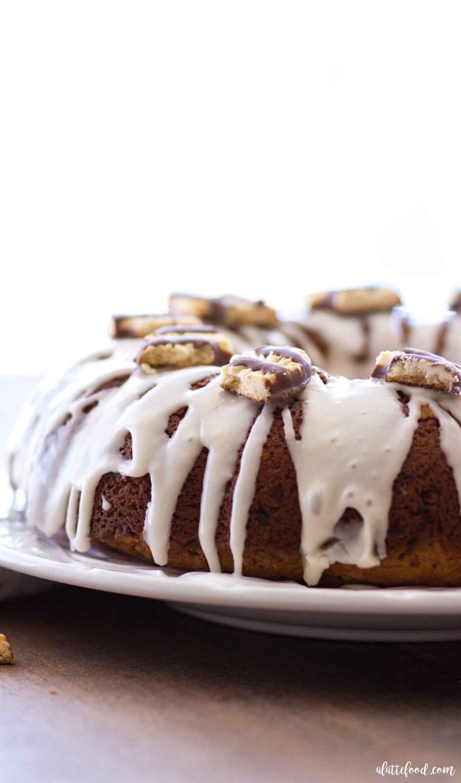 Homemade Fudge Stripe Coffee Cake Bundt Cake Recipe with a Vanilla Glaze