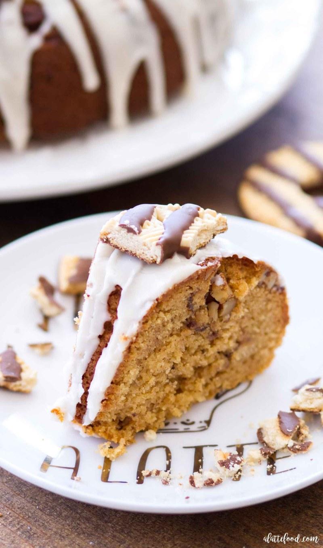 Easy Fudge Stripe Coffee Cake Bundt Cake Recipe with a Vanilla Glaze
