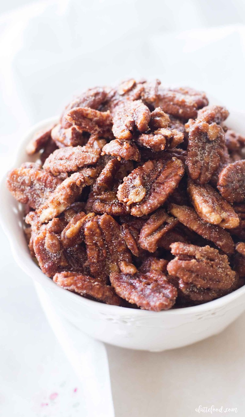 candied nuts with maple in big bowl