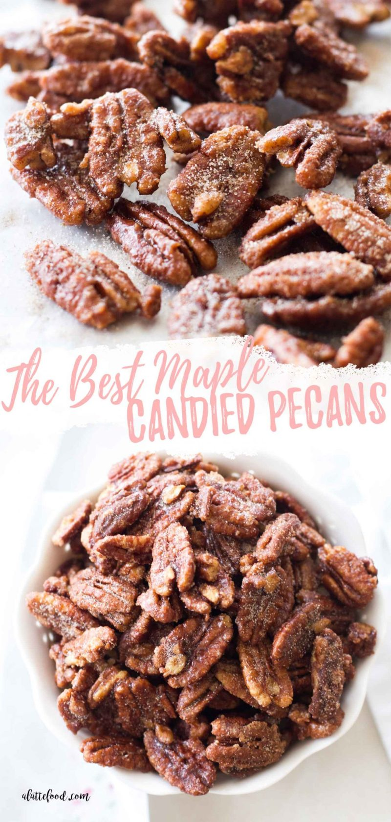candied maple nuts collage with text