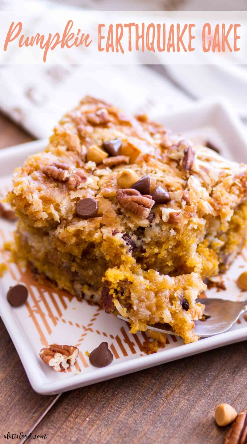 This Easy Pumpkin Earthquake Cake is one of the best fall dessert recipes! Doctored up cake mix is swirled with a cream cheese filling, making a rich, gooey pumpkin cake that's 100% over-the-top and downright delicious. #pumpkin #cake #fall #dessert #recipe