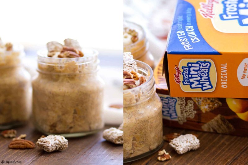 These Pumpkin Spice Overnight Oats are made with Kellogg's Frosted Mini Wheats, oats, pumpkin puree, Greek yogurt, almond milk, maple syrup and pumpkin pie spice. This easy overnight oats recipe is the perfect fall breakfast!