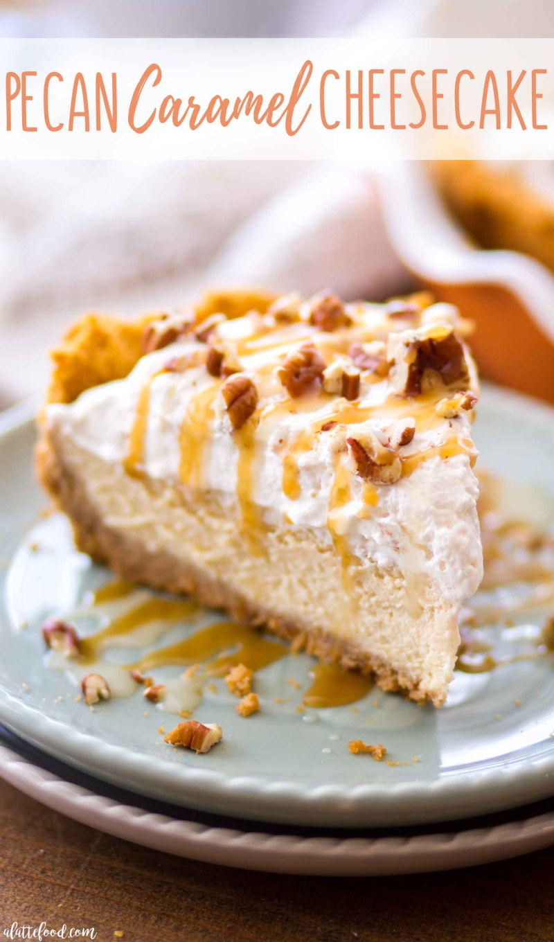Caramel drizzled pecan caramel cheesecake in a homemade graham cracker crust.