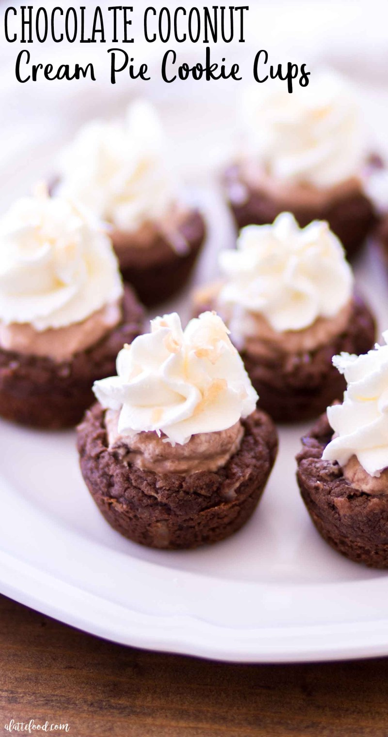 Homemade Easy Chocolate Coconut Cream Pie Cookie Cups made with toasted coconut and homemade whipped cream.