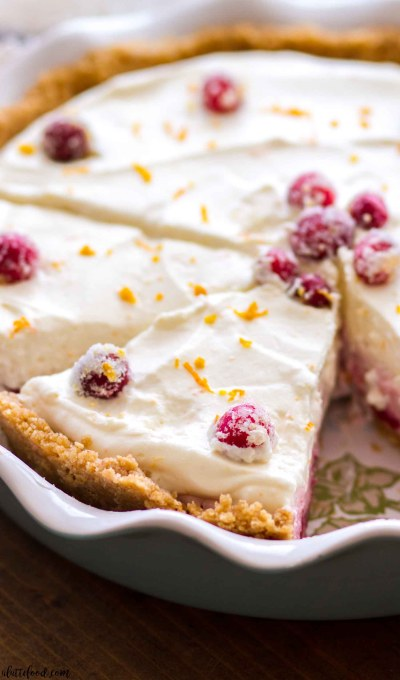 This homemade No Bake Cranberry Orange Cream Pie recipe is a simple holiday dessert.