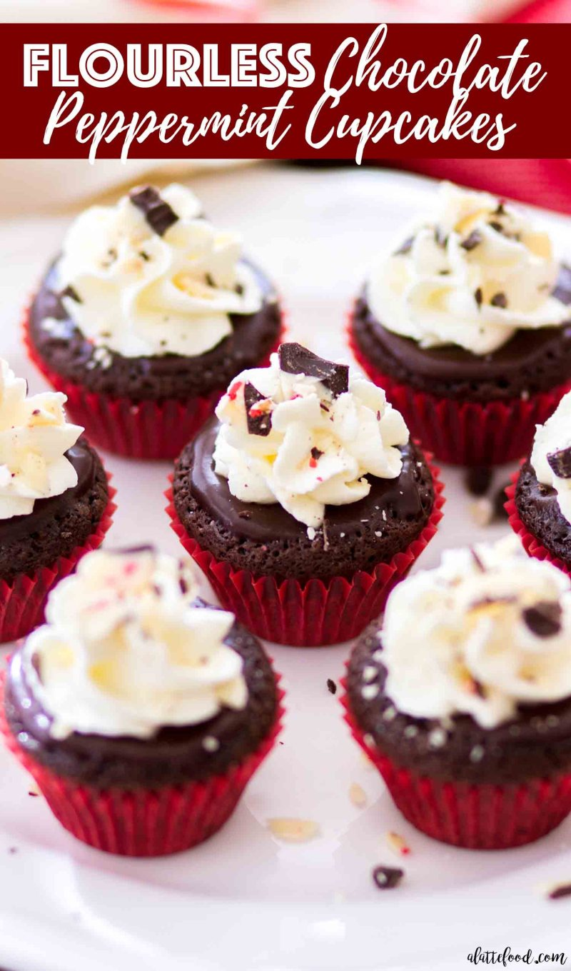 Mini flourless chocolate cupcakes with peppermint make a perfect gluten free Christmas dessert.