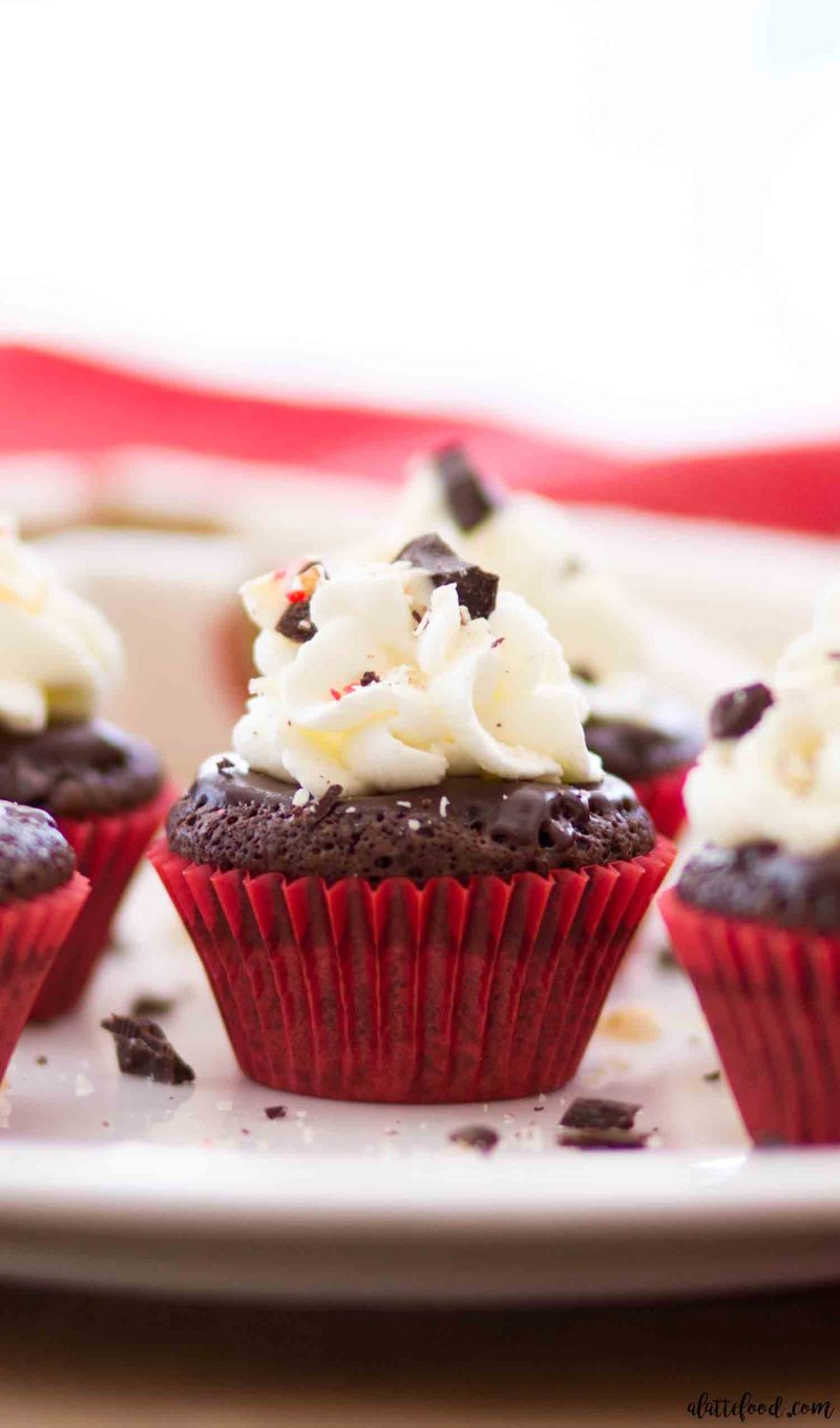 Mini Flourless Chocolate Peppermint Cupcakes make the best gluten free chocolate cupcakes.