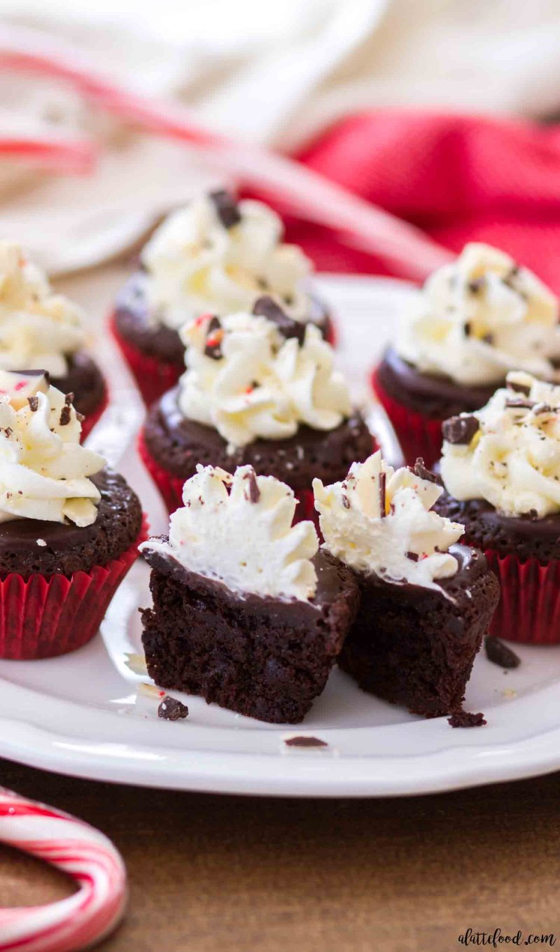 Look how rich and fudgy these flourless chocolate peppermint cupcakes are!