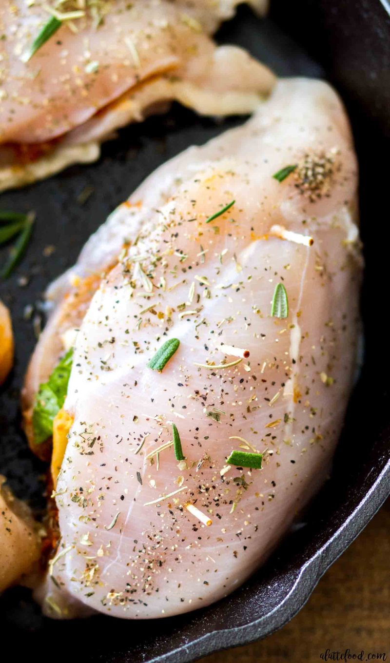 These Sun Dried Tomato Stuffed Chicken Breasts are so easy to cook in a cast iron skillet.