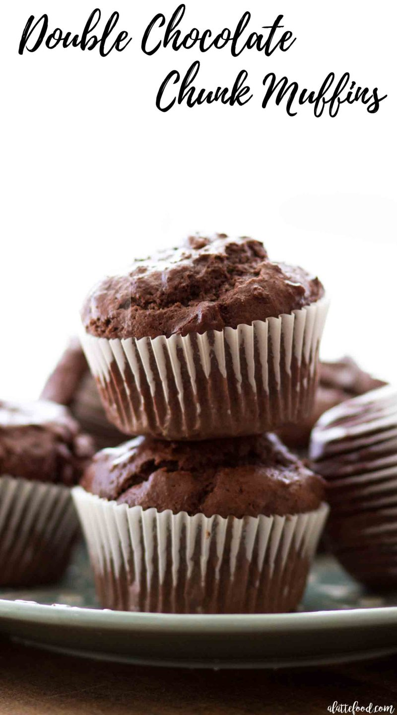 Homemade Double Chocolate Chunk Muffins are rich, chocolatey and made in just one bowl! homemade chocolate chunk muffins