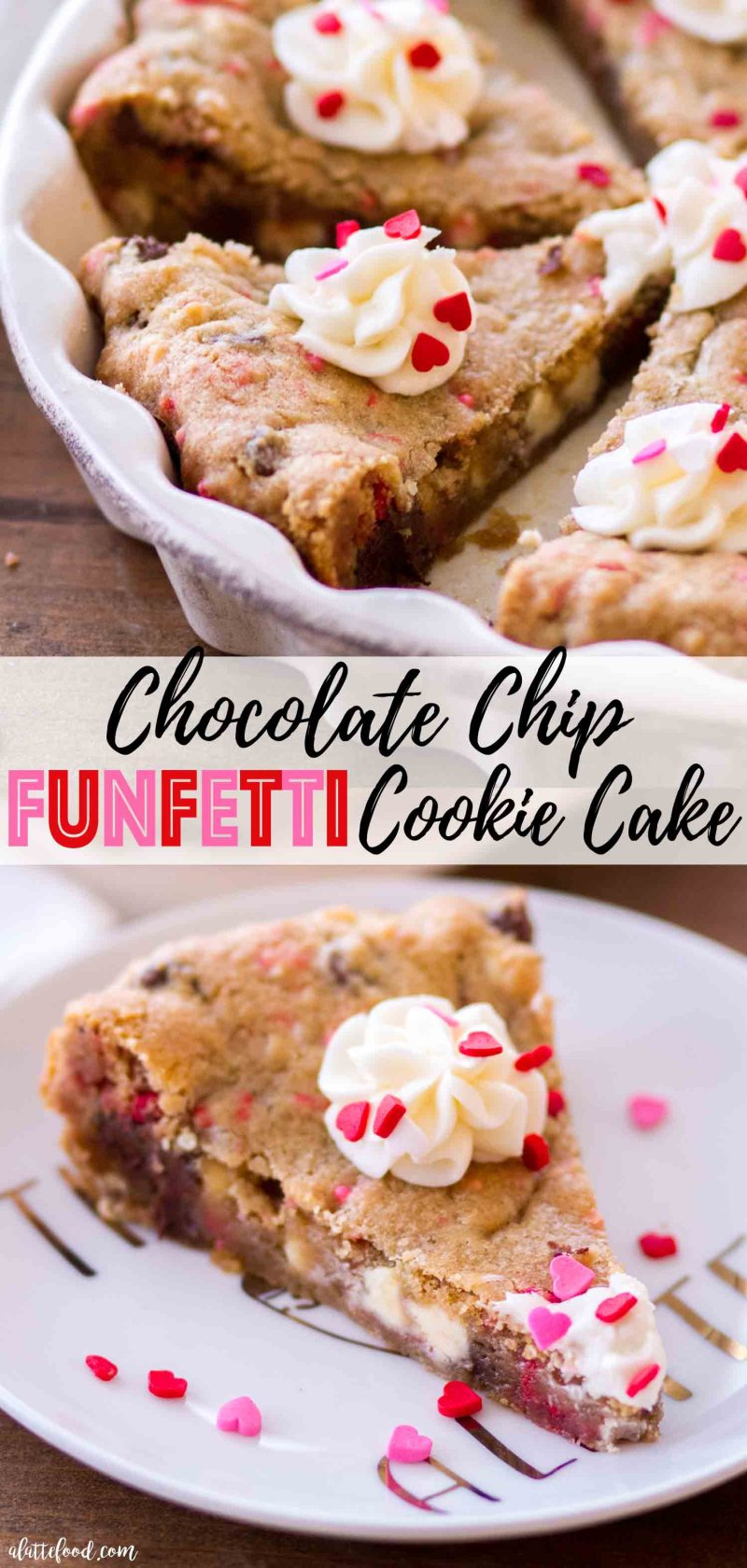 The best easy chocolate chip cookie cake with funfetti sprinkles and homemade vanilla frosting (aka vanilla buttercream).