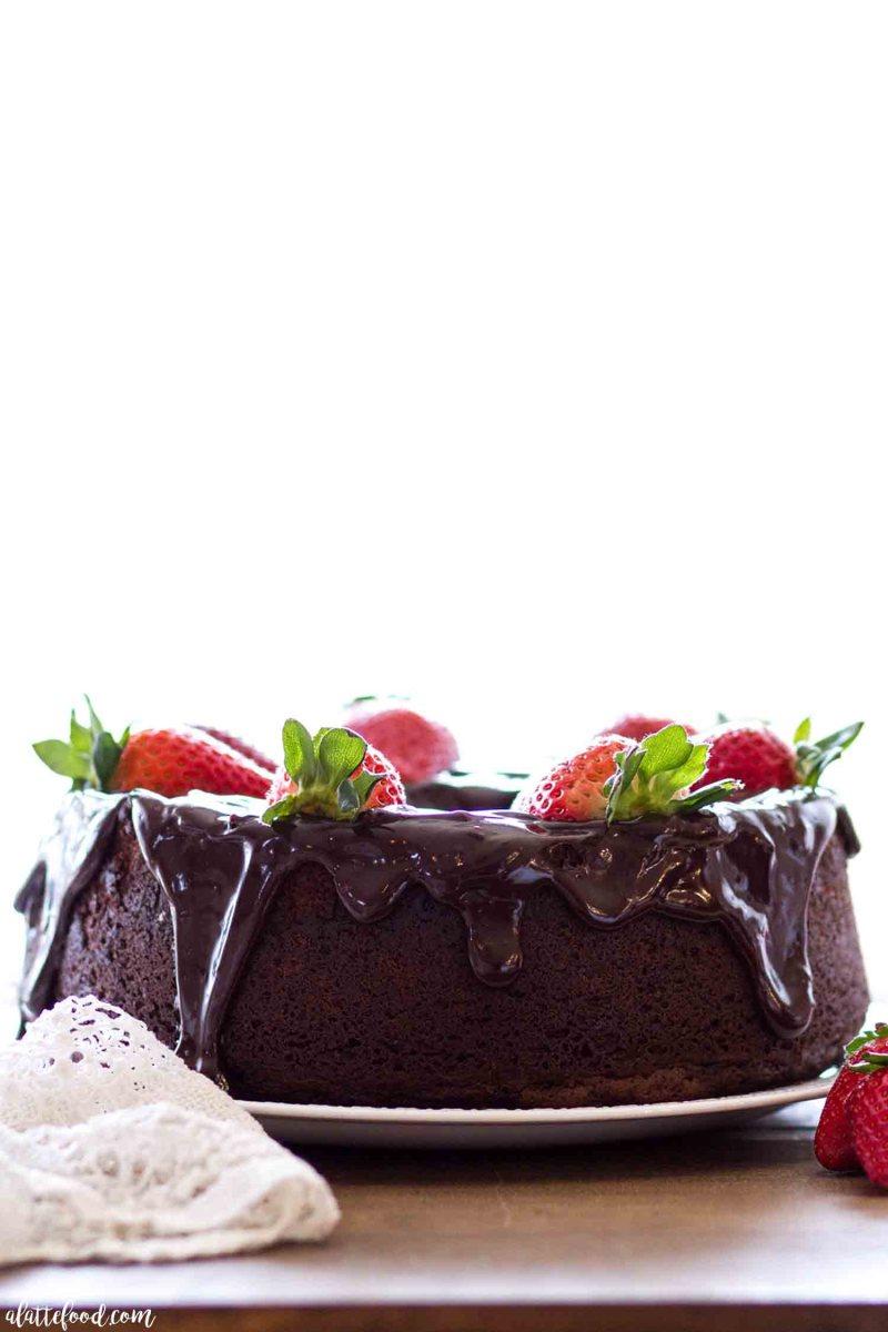 Chocolate pound cake bundt cake made with homemade ganache.