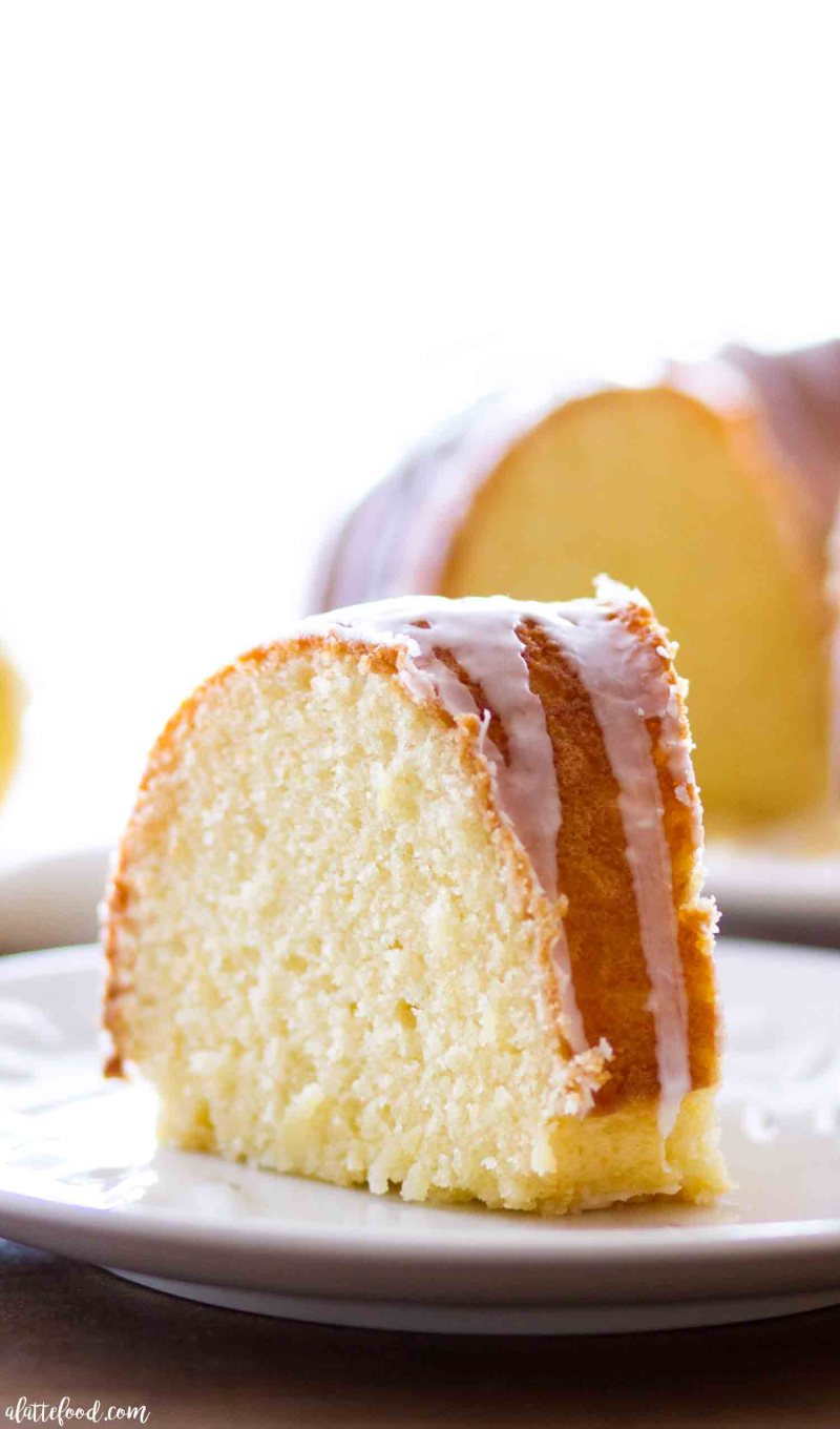 Homemade lemon bundt cake slice with a lemon glaze