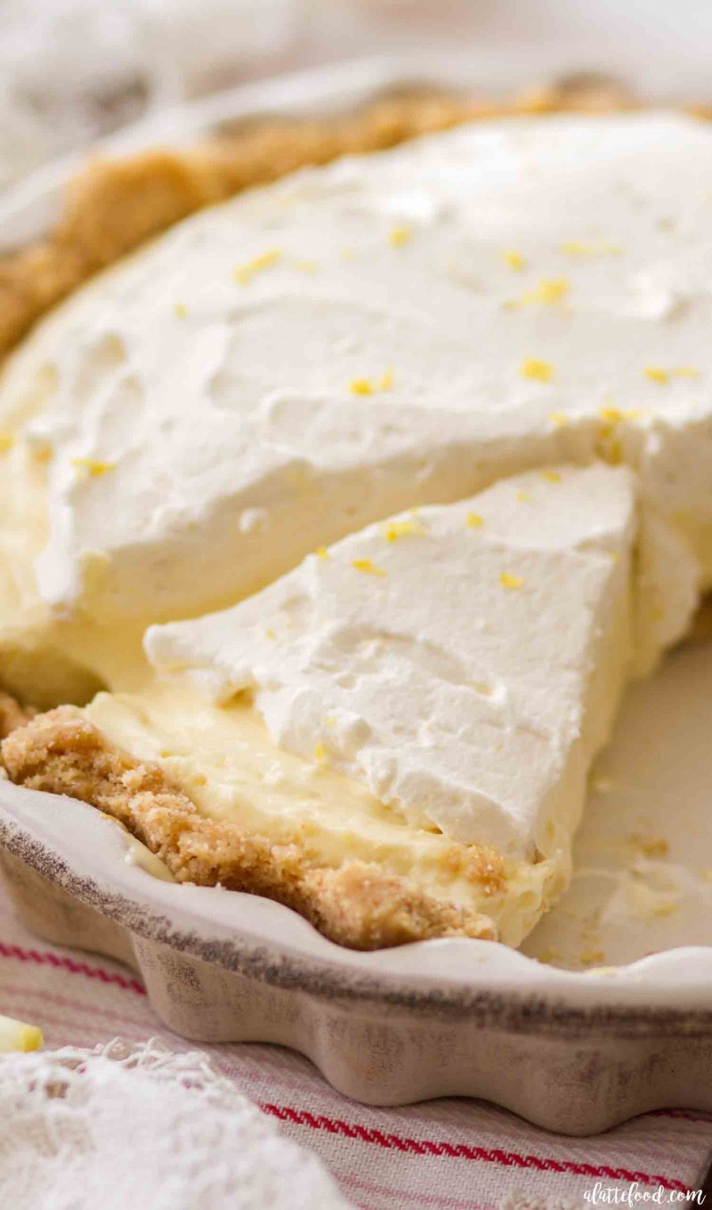 Homemade lemon cream pie in a vanilla wafer crust