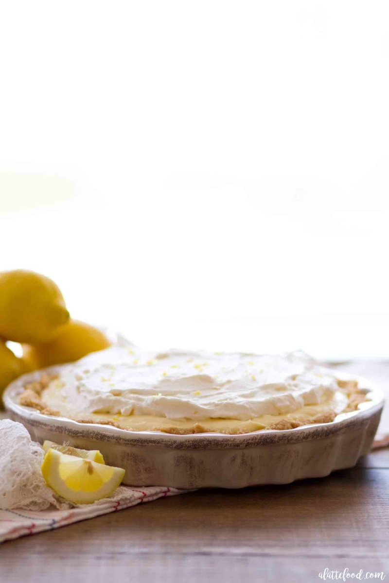 No Bake Lemon Cream Pie with lemon whipped cream and a vanilla wafer crust.