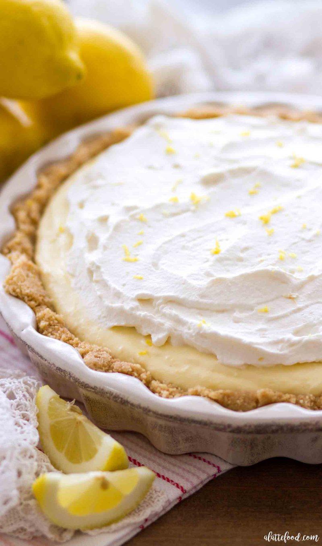This easy lemon cream pie recipe is a no bake lemon pie in a nilla wafer crust.