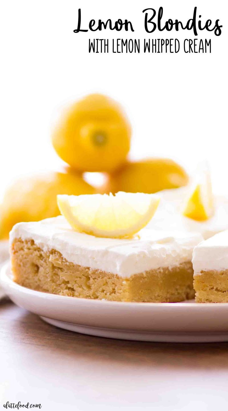 Rich lemon blondies and lemon frosting
