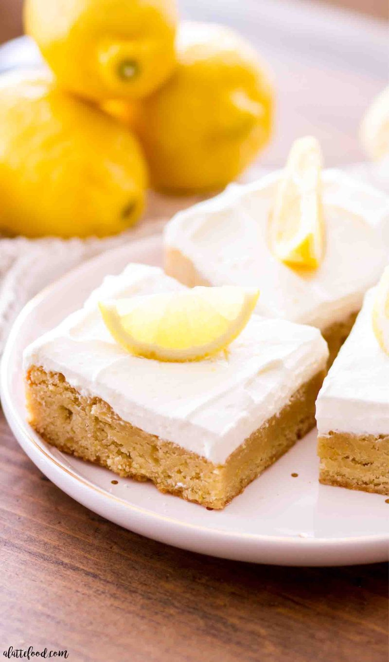 Lemon blondies recipe with a lemon whipped frosting