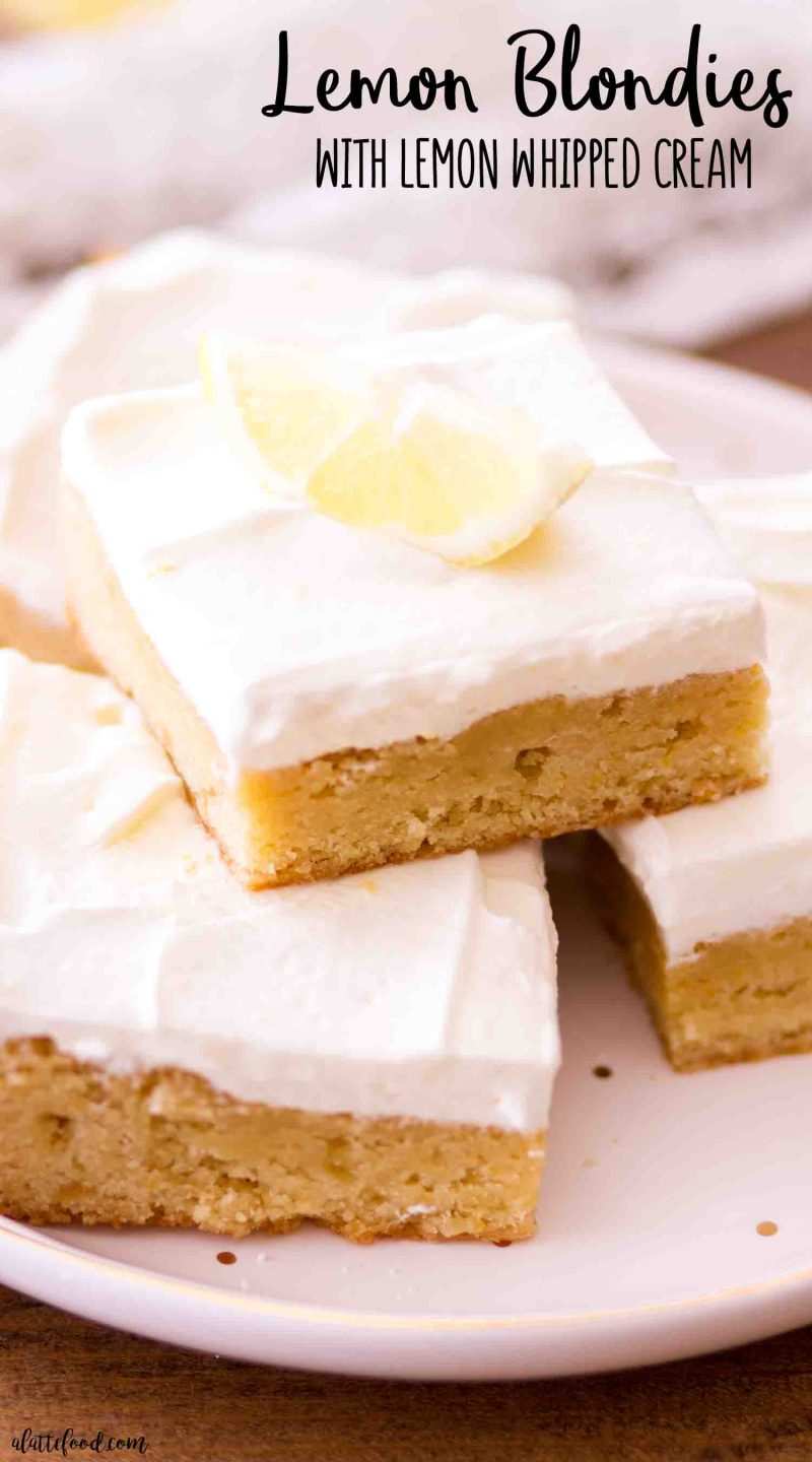 The best chewy lemon blondies recipe with a simple lemon frosting