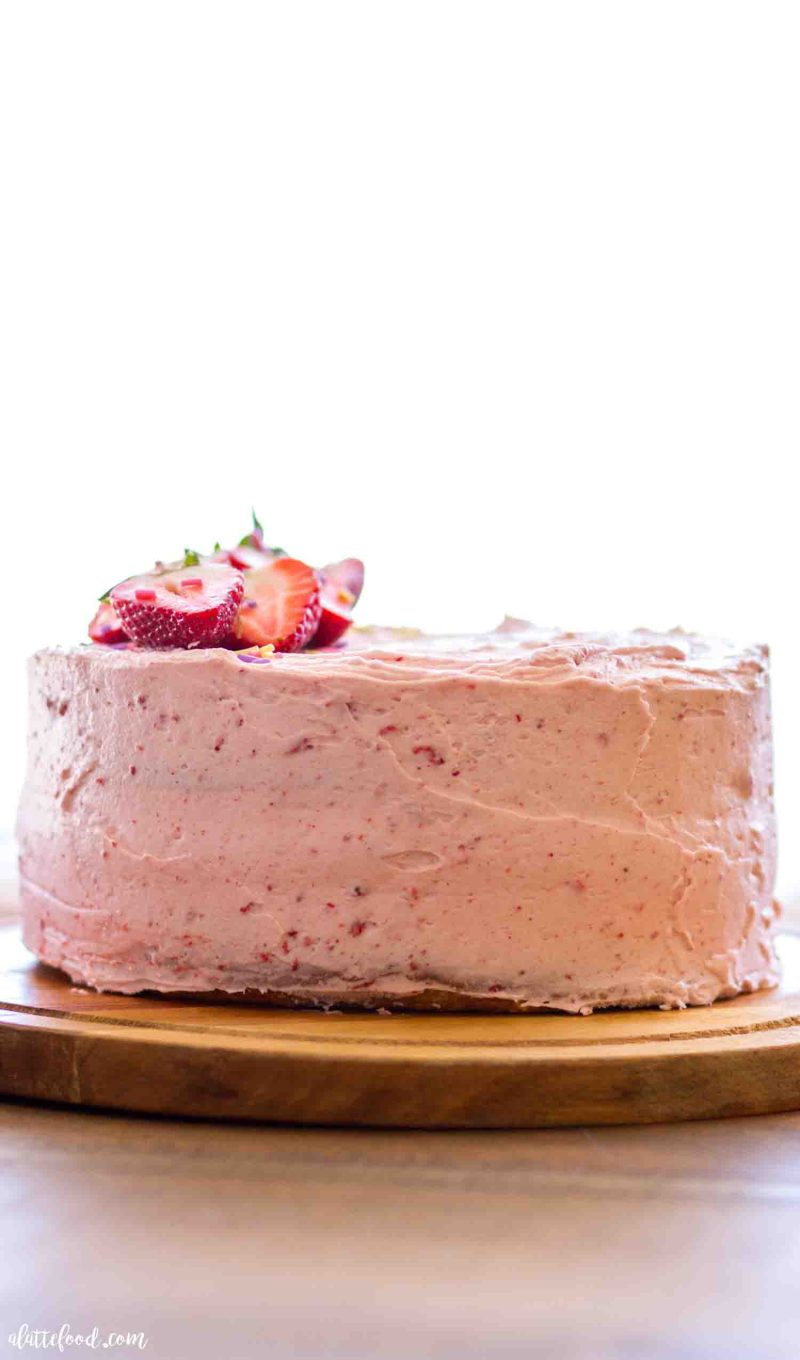 Strawberry funfetti cake with strawberry filling and homemade frosting