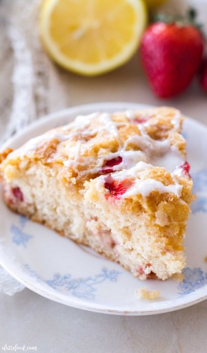 strawberry lemon coffee cake with brown sugar topping