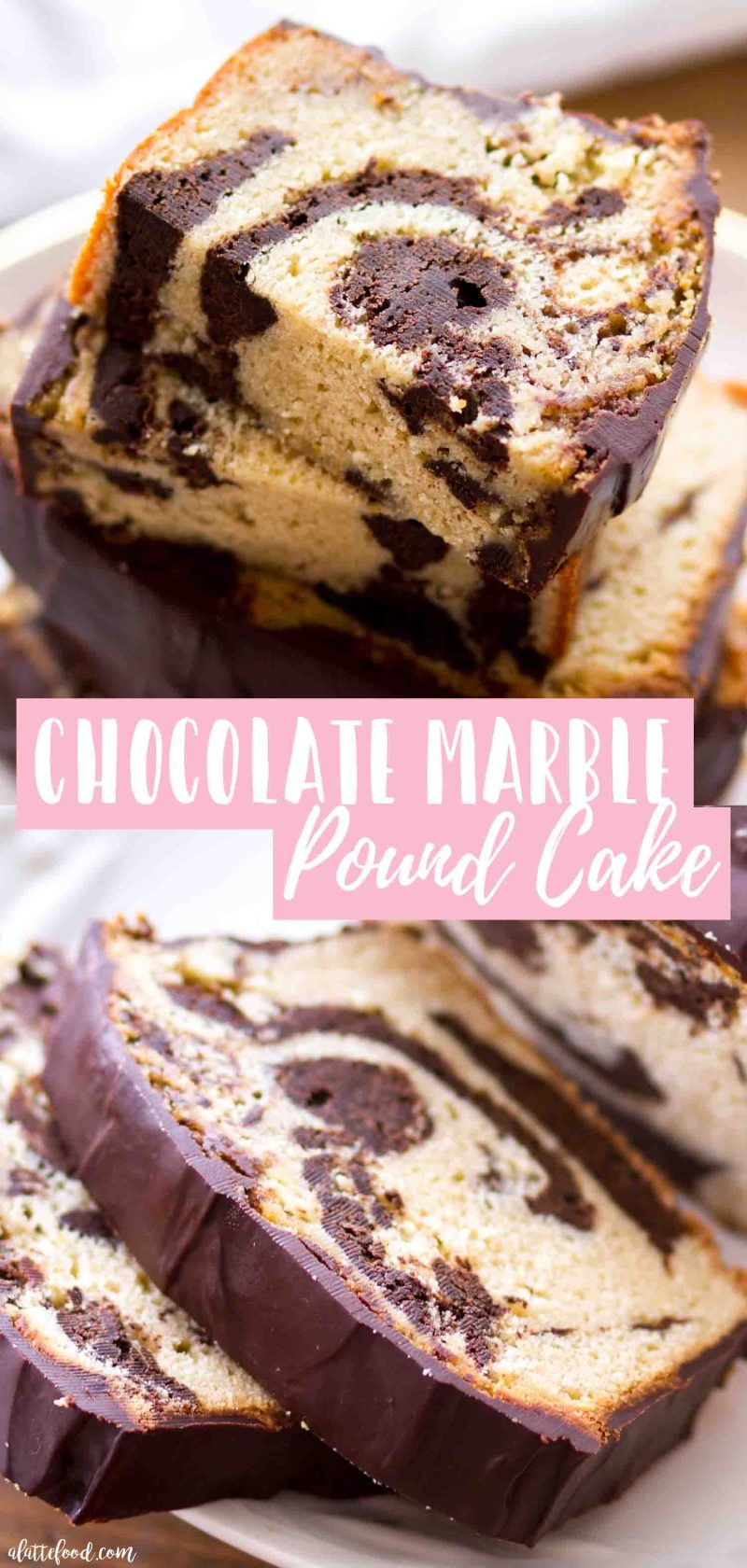This easy vanilla chocolate marble pound cake recipe photo collage shows the gorgeous swirl of the vanilla pound cake and chocolate pound cake. The perfect spongy texture comes from making this pound cake with cream cheese and butter.