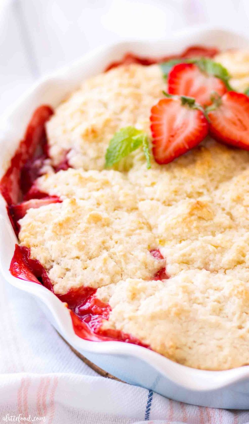Fresh strawberry cobbler with lemon biscuits