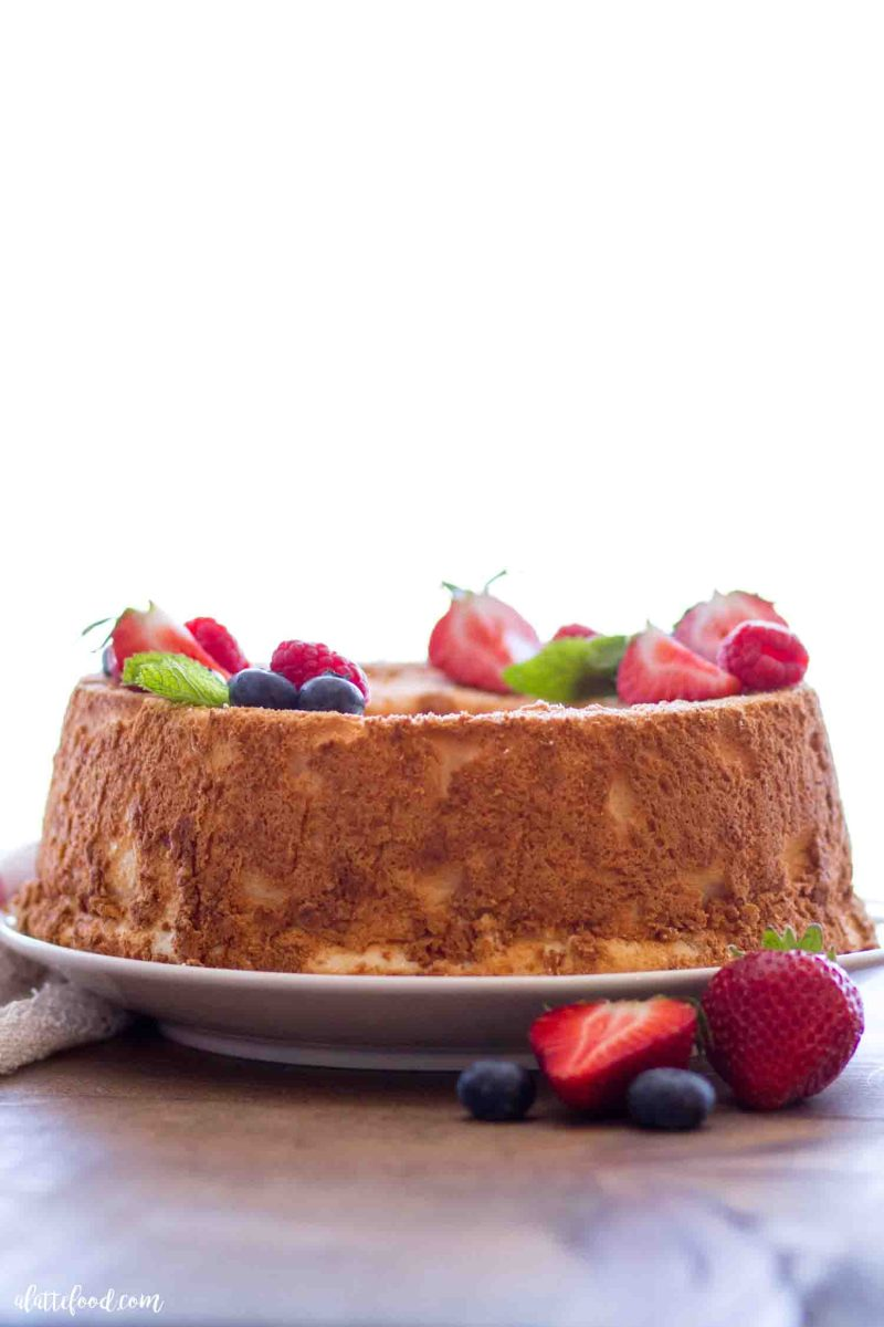 Easy angel food cake recipe with fresh berries