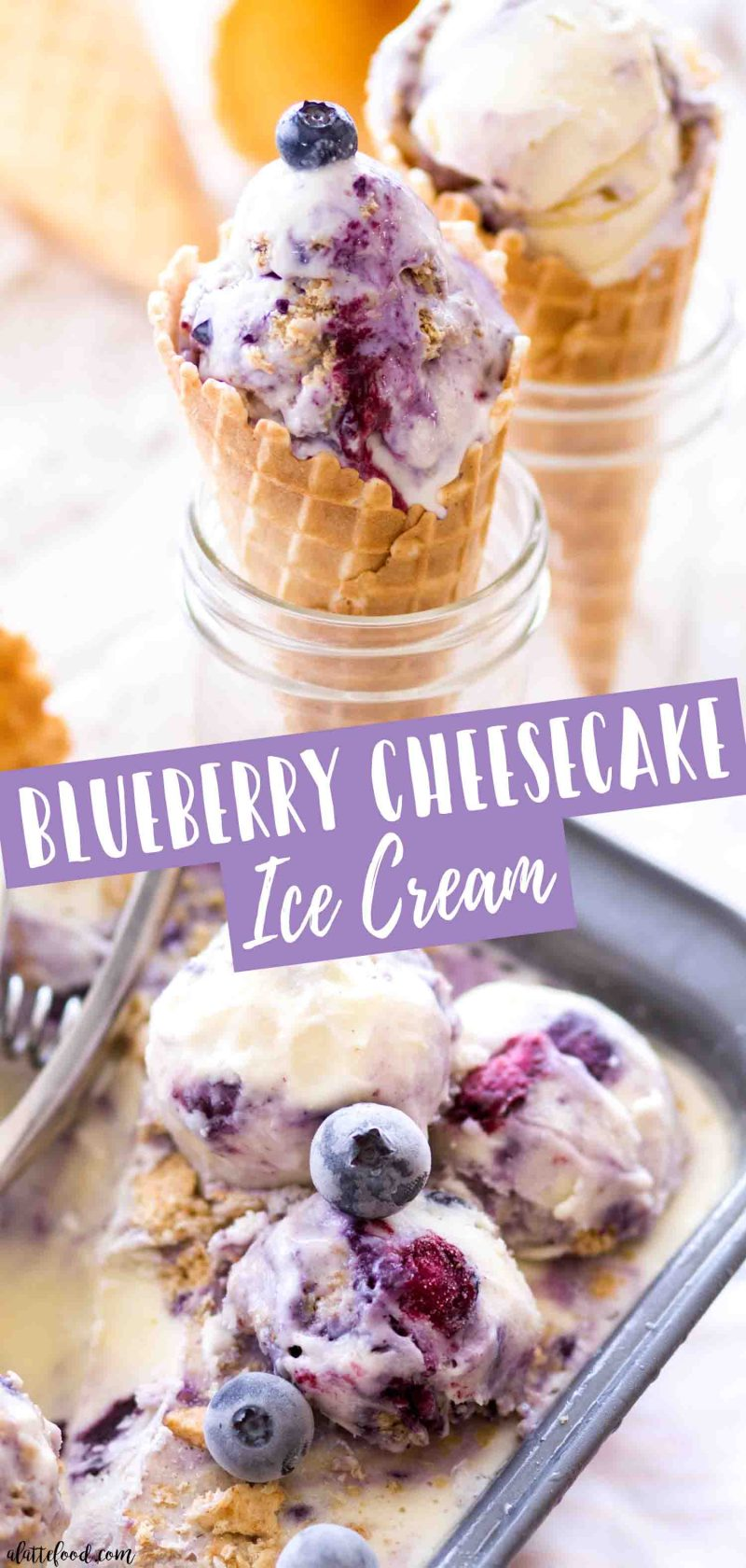 Homemade blueberry cheesecake ice cream is layers of cream cheese custard, blueberry pie filling and graham cracker crumbs.