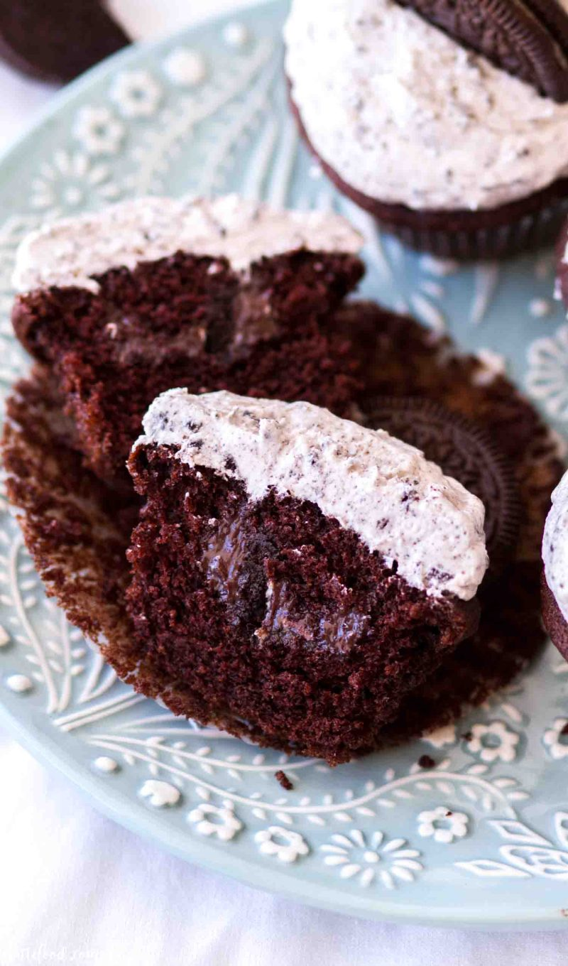 Moist chocolate oreo cupcake filled with chocolate ganache