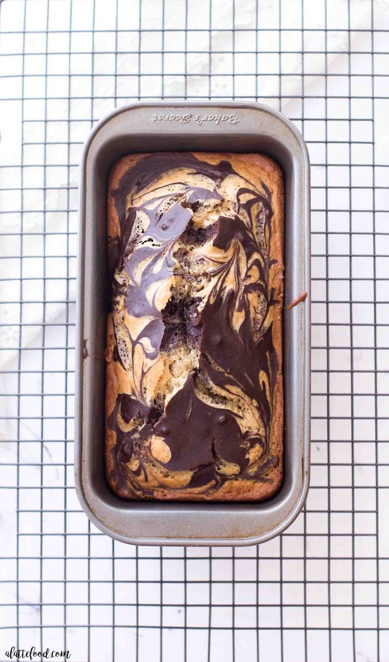 Marble chocolate peanut butter loaf cake in a bread pan