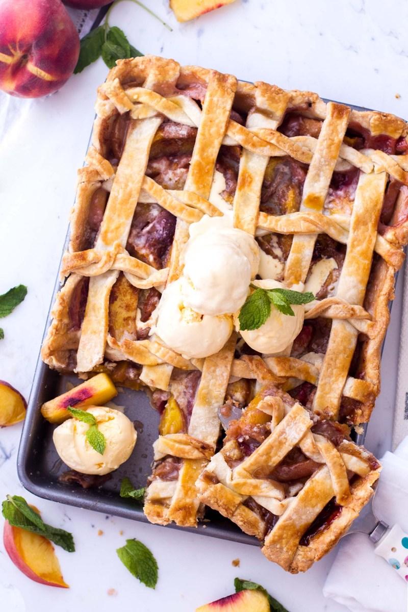 Homemade peach slab pie is such an easy summer dessert.
