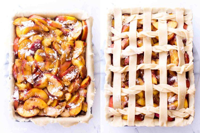 Easy Peach Slab Pie recipe unbaked with a lattice crust
