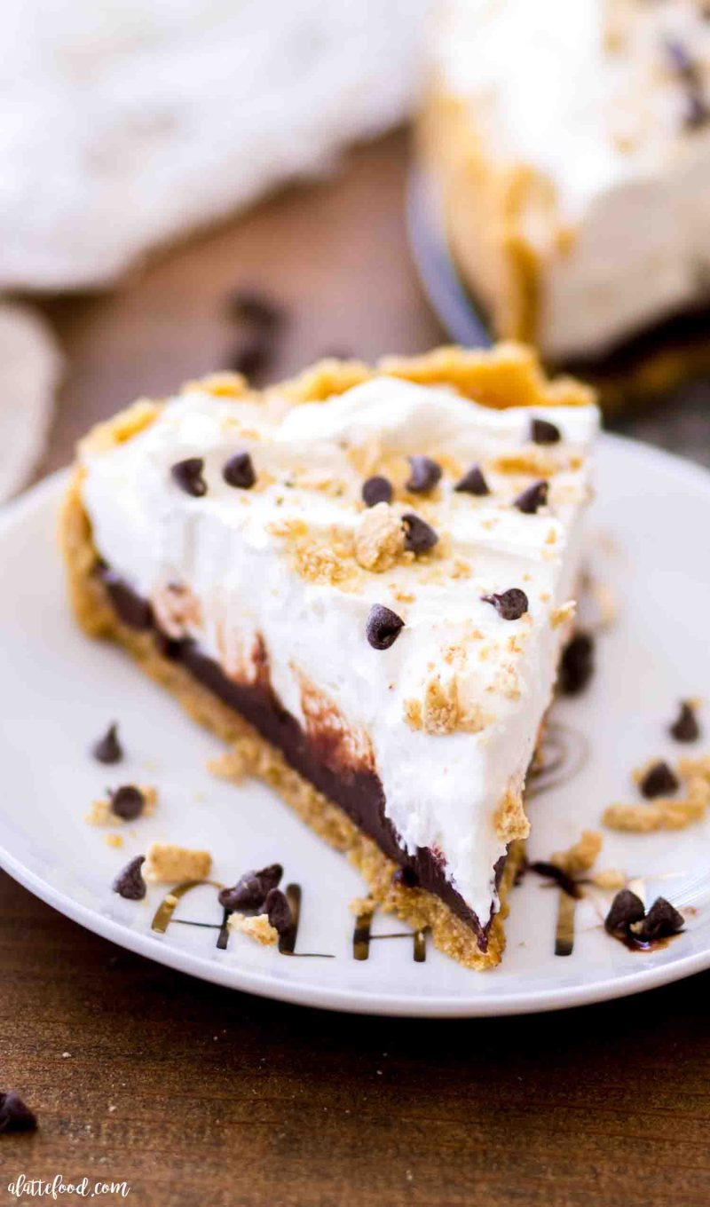 A slice of the best no bake s'mores tart