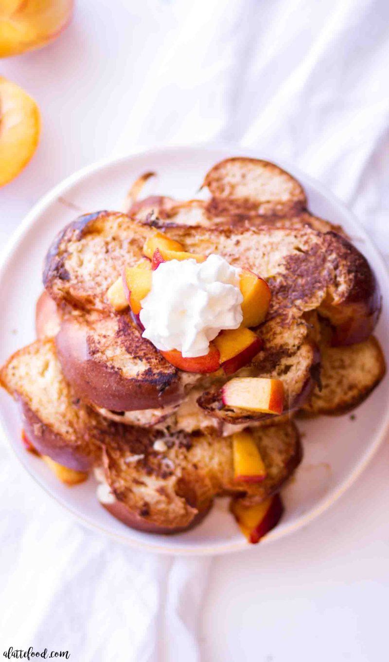 Homemade french toast stuffed with peaches and cream cheese