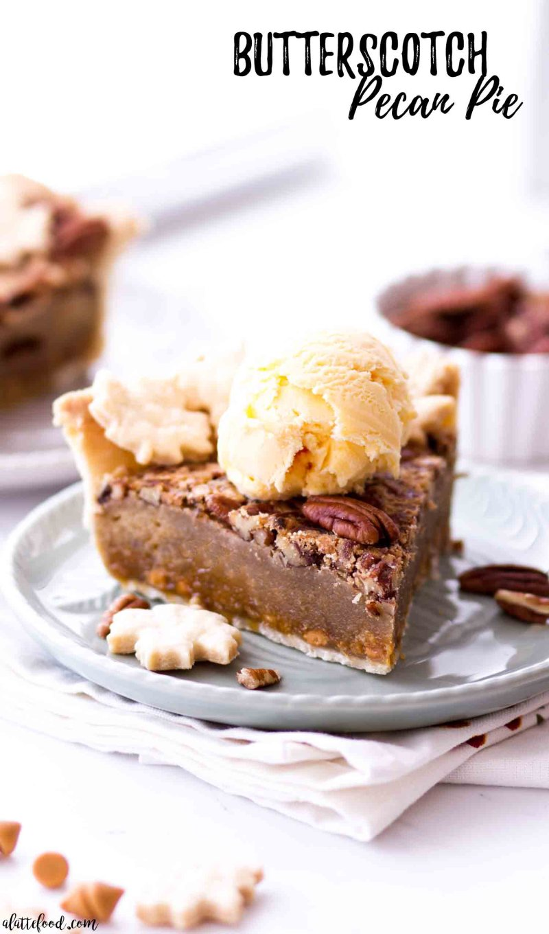 Easy butterscotch pecan pie with ice cream on a green blue plate