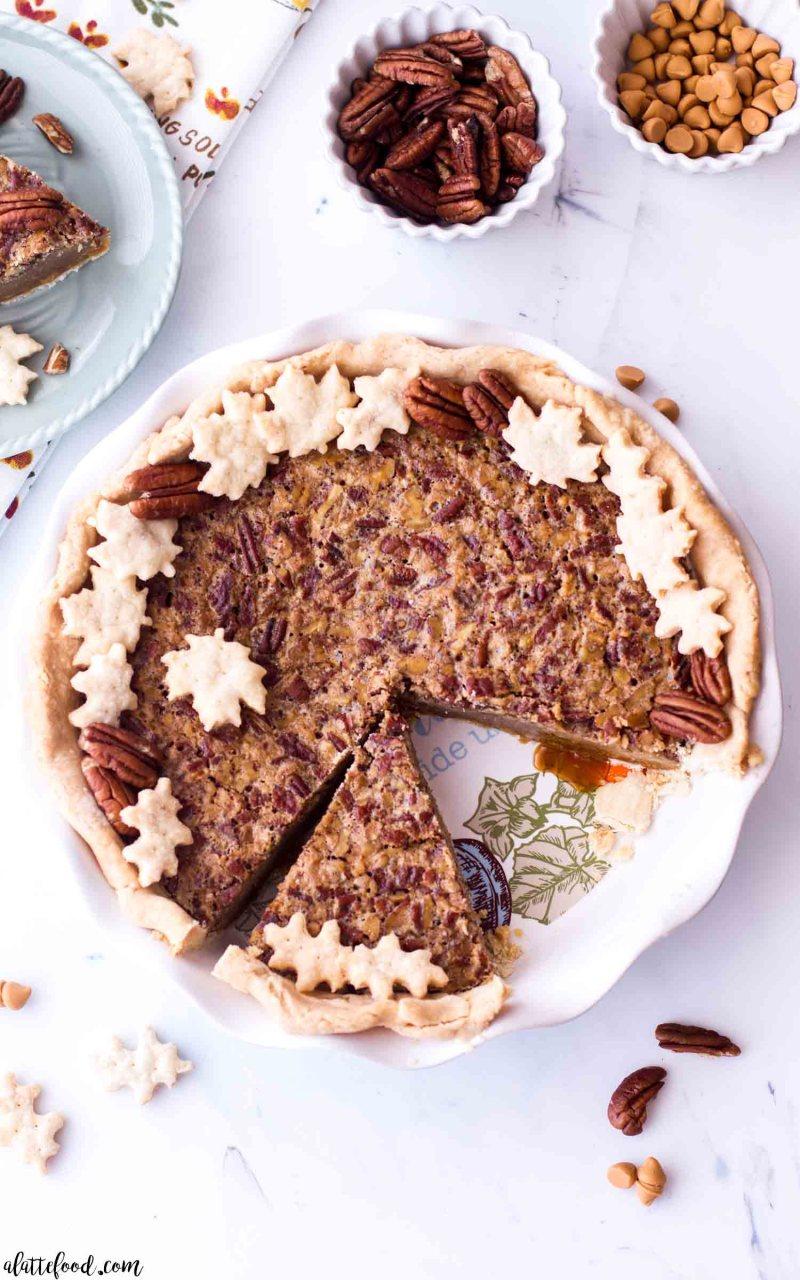 Homemade butterscotch pecan pie in a pie plate