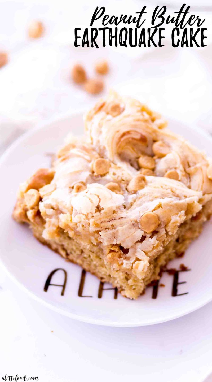 Peanut Butter Earthquake Cake slice on a white plate