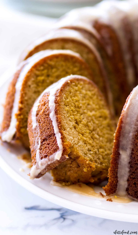 Vanilla Pumpkin Bundt Cake slices with maple icing