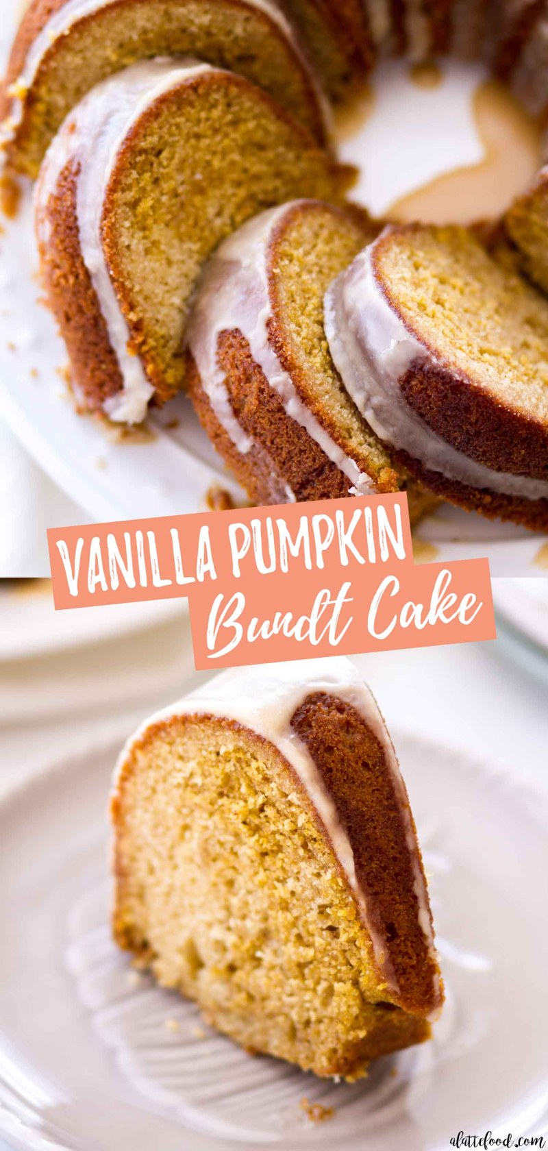 The best Vanilla Pumpkin Bundt Cake topped with a homemade marble icing