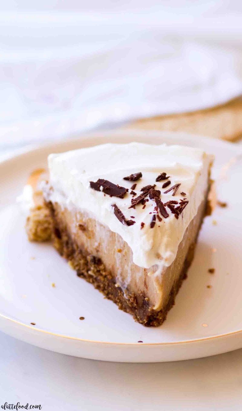 easy peanut butter custard pie slice on a polka dot white plate