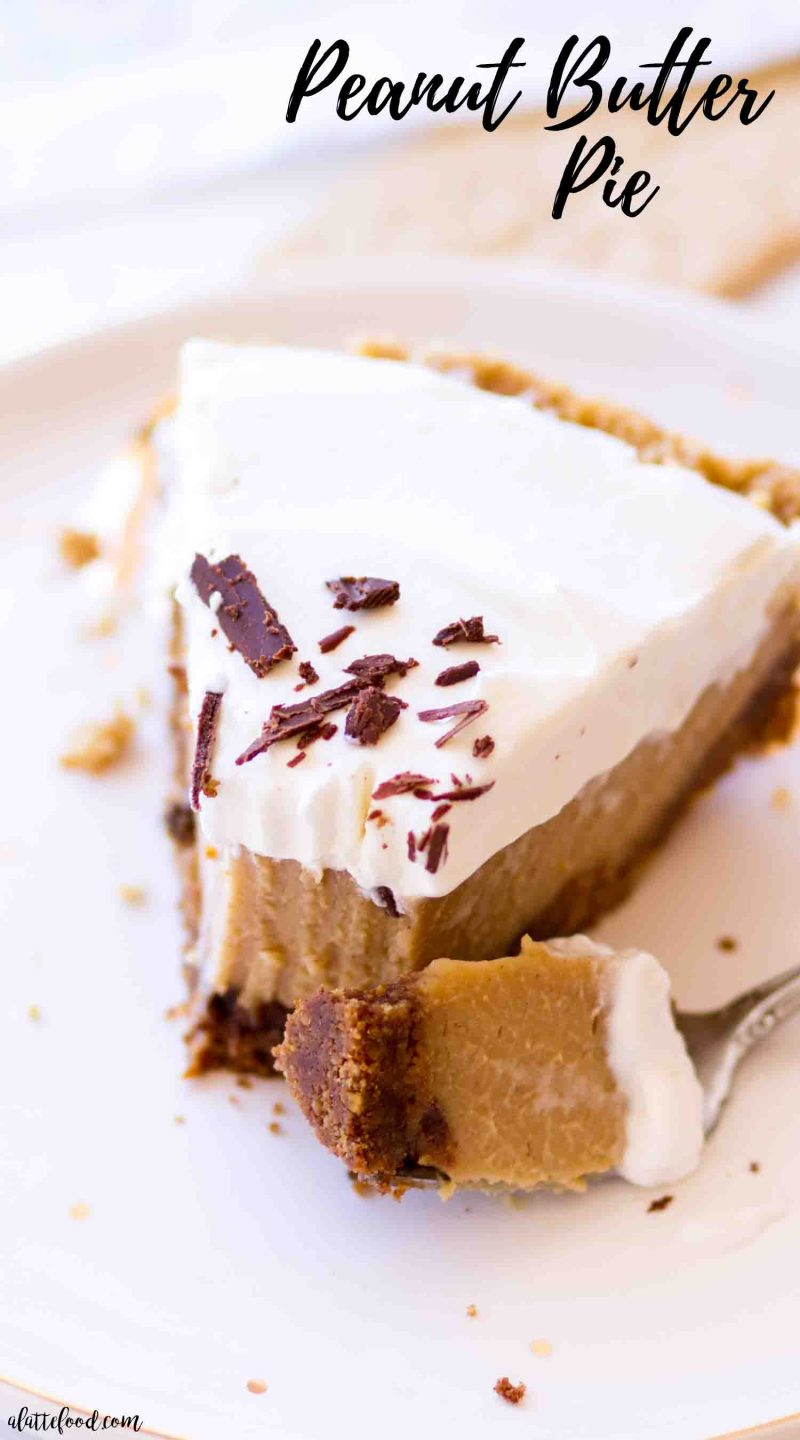 easy peanut butter pie slice on a gold polka dot plate