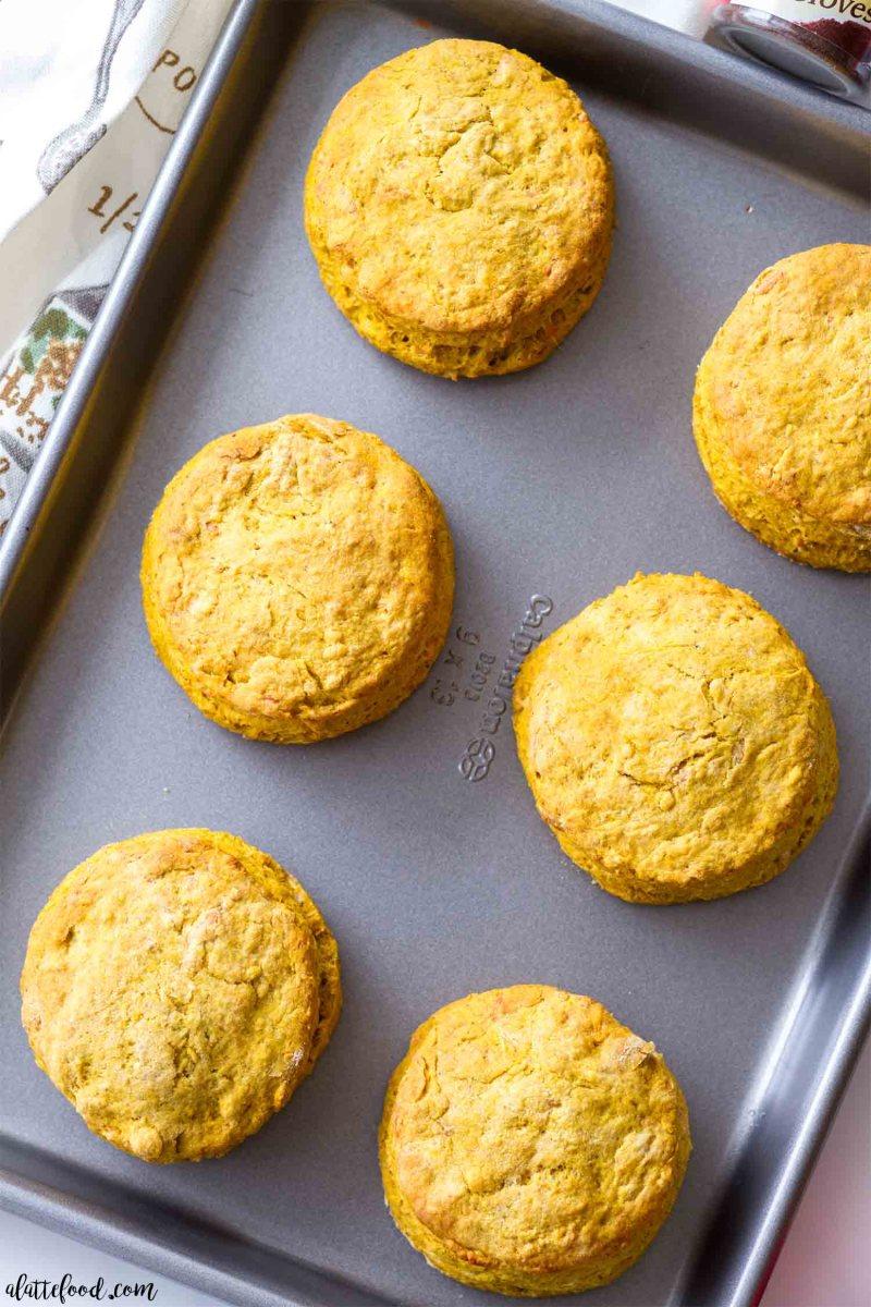pumpkin biscuits on a baking sheet