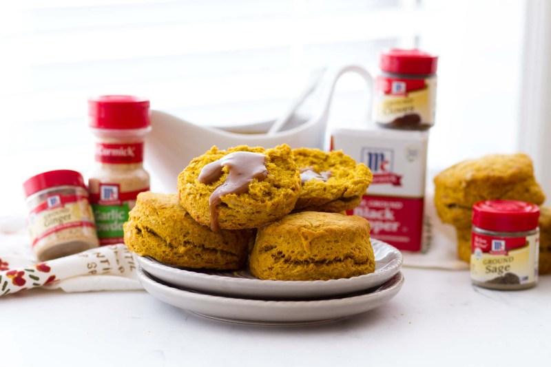 Homemade pumpkin biscuits with gravy
