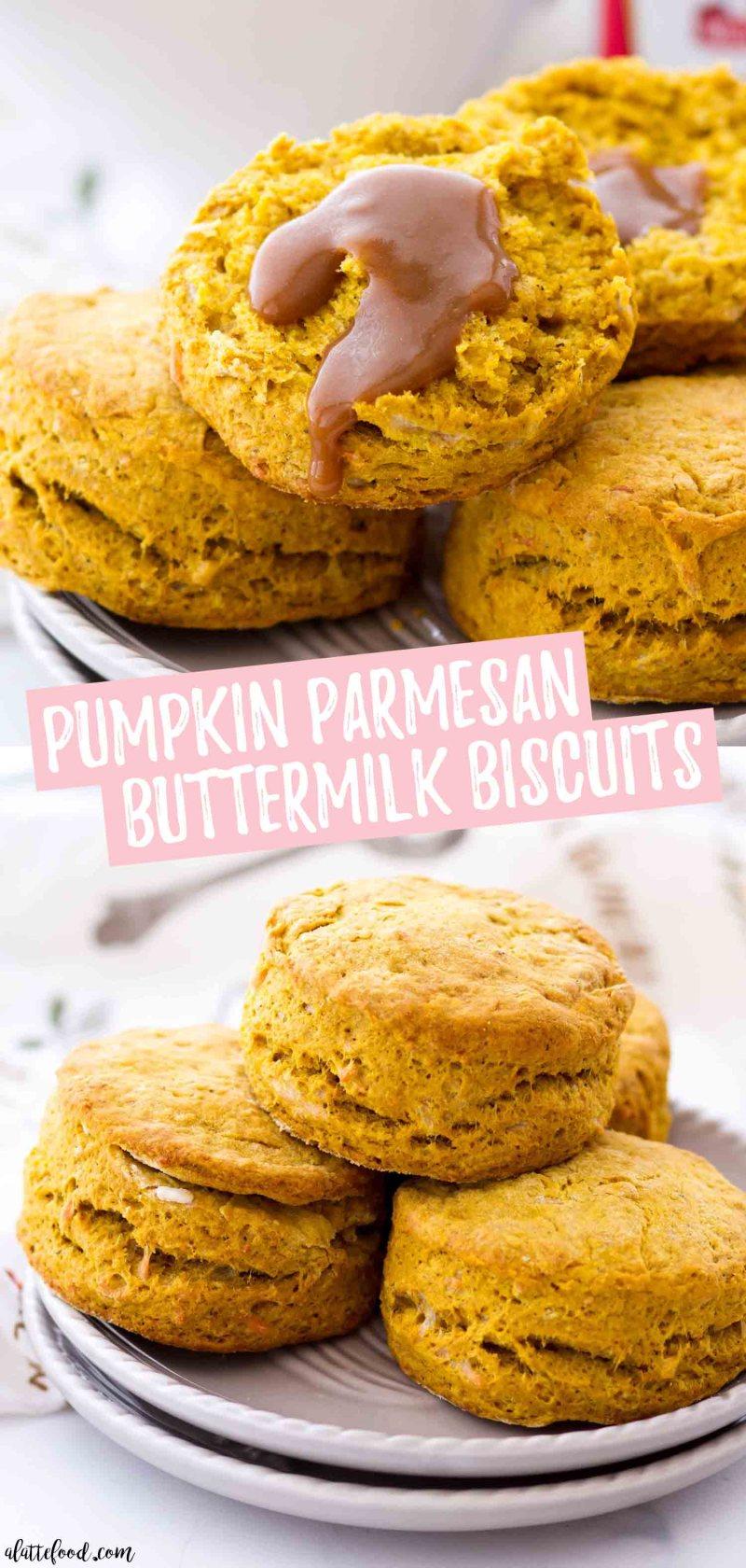 Pumpkin Parmesan Buttermilk Biscuits with gravy collage